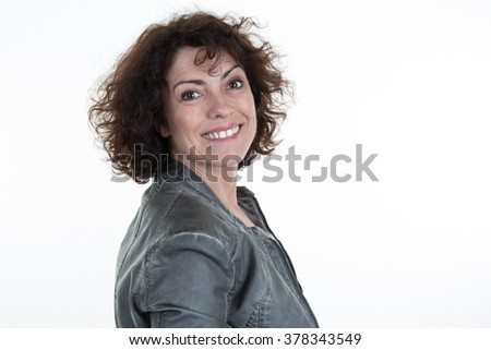 Woman face, toothy smile. Caucasian  girl close up portrait. Isolated on white background. Studio shot . happy positive girl.