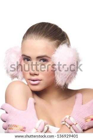 Woman face, winter - stock photo