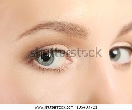 Woman face with beautiful makeup - stock photo