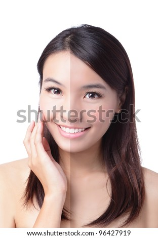 Woman face with half tan skin (before and after) isolated on white background. Beautiful asian woman portrait, - stock photo