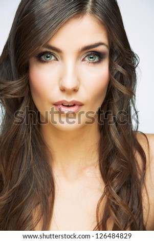 Woman face with long  curly hair on white background isolated close up portrait. Young model studio poses.