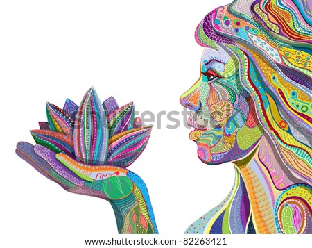woman face with multicolored indian pattern holding lotus flower, side view, digital painting - stock photo
