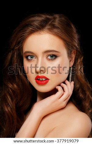 Woman face with red lips close-up. Beauty and Fashion. Portrait of a beautiful young girl - stock photo