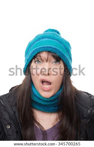 woman faces - bad surprise - stock photo