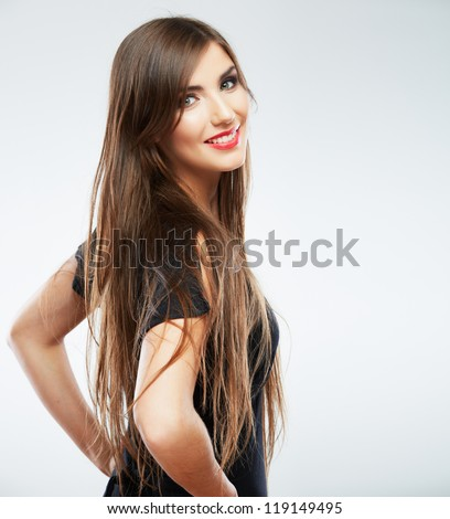 Woman fashion beauty portrait. Evening black dress. Young beauty model with long hair