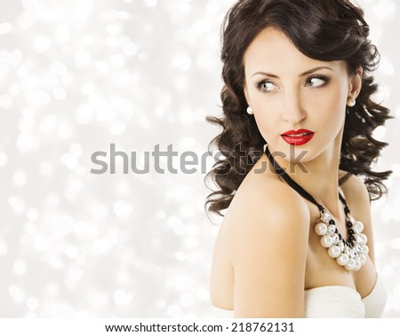 Woman Fashion Beauty Portrait, Luxury Lady Pearl Jewelry. Model Girl Hairstyle with black Curly Hair, Beautiful Makeup. Shining background - stock photo