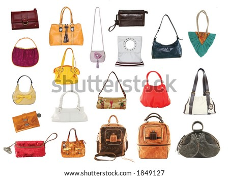 woman fashion - many purses and bags - stock photo
