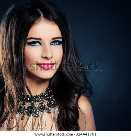 Woman Fashion Model. Cute Face. Curly Hair, Makeup, Necklace - stock photo