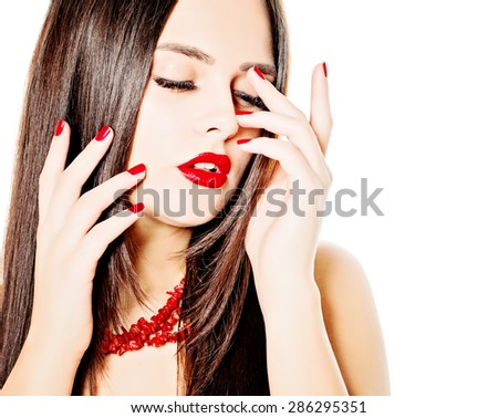 Woman Fashion Model with Red Manicure Nails - stock photo