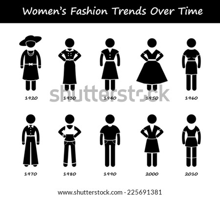 Woman Fashion Trend Timeline Clothing Wear Style Evolution by Year Stick Figure Pictogram Icons - stock photo