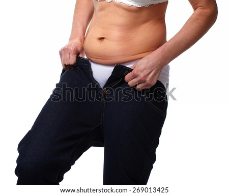 Woman fat belly. Diet and weight loss concept.