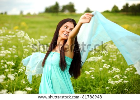 woman feel freedom - stock photo