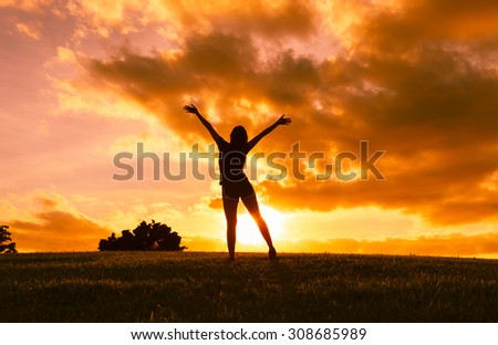 Woman feeling free in nature! - stock photo