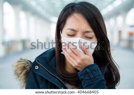Woman feeling sick - stock photo