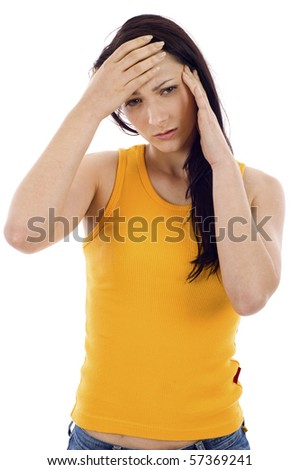 Woman feeling the pain isolated over white background - stock photo