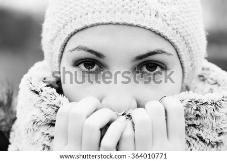Woman feels so cold - stock photo