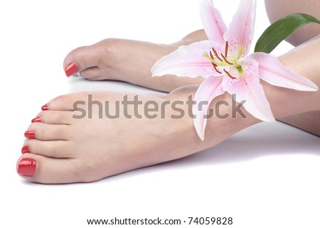 Woman feet and flowers isolated over white background - stock photo