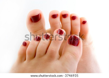 Woman feet isolated in white background