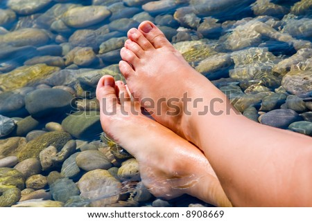 woman feet relax in the beach - stock photo