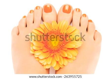 Woman feet with beautiful orange manicured nails - stock photo