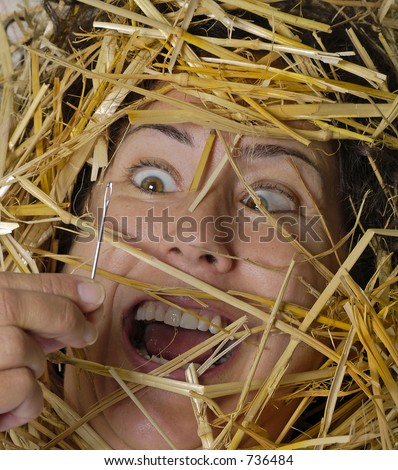Woman finds needle in a haystack - stock photo