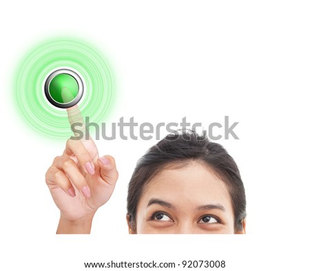 Woman finger pressing START button