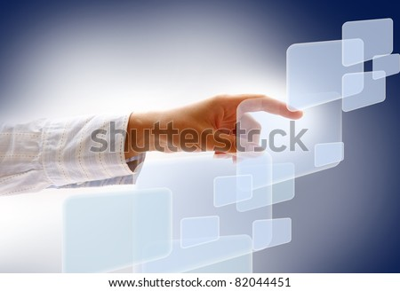 "woman finger push ""enter"" button - stock photo"