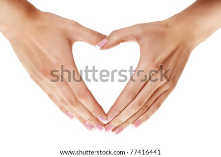 Woman fingers showing heart shape over isolated white - stock photo