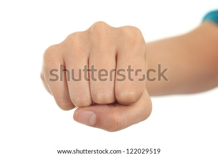 Woman fist in a white isolated background