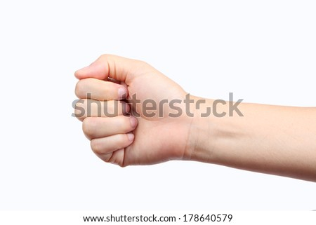 Woman fist isolated on white background - stock photo