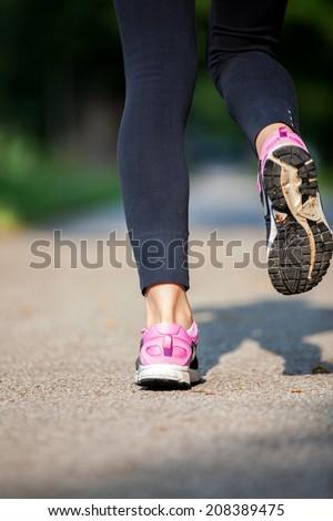woman fitness sunrise jog workout welness concept. - stock photo