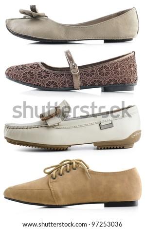 Woman flat shoes on white bakground - stock photo