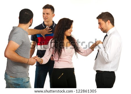 Woman flirting with one man while her boyfriend fighting with other man for same woman isolated on white background - stock photo