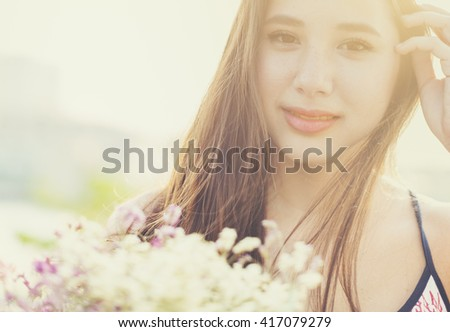 Woman Flower Bouquet Outdoors Dating Concept