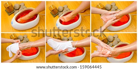 woman foot treatment in paraffin bath at the spa - stock photo