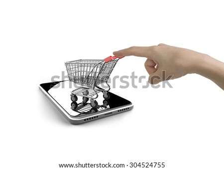 Woman forefinger pushing small shopping cart on smartphone of white screen, isolated on white, on line shopping concept. - stock photo