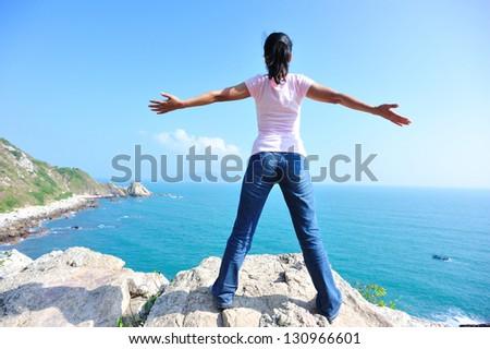 woman free seaside - stock photo