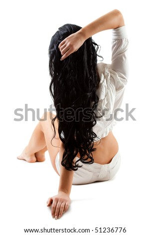woman from back isolated over white - stock photo