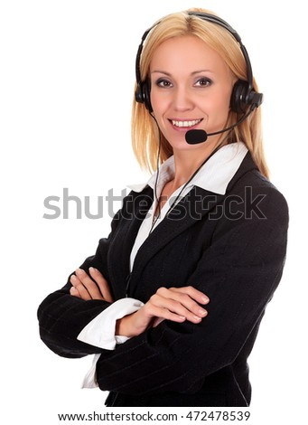 Woman from call center smiling happy talking in hands free headset device, isolated on white background