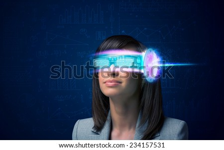 Woman from future with high tech smartphone glasses concept - stock photo