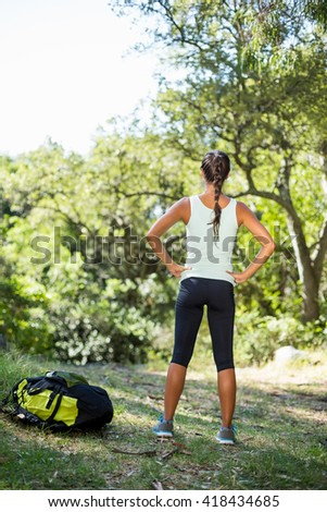 Woman front the back standing and with hands on hips on the wood - stock photo