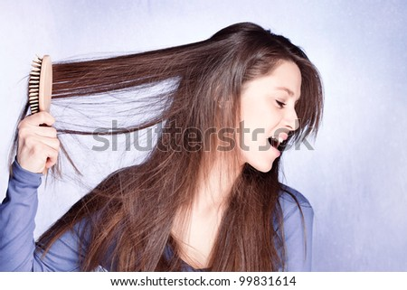 woman  frustrated with  her hair