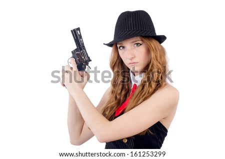 Woman gangster isolated on white
