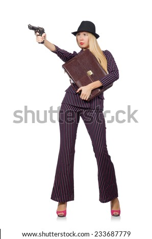 Woman gangster with gun in vintage concept - stock photo
