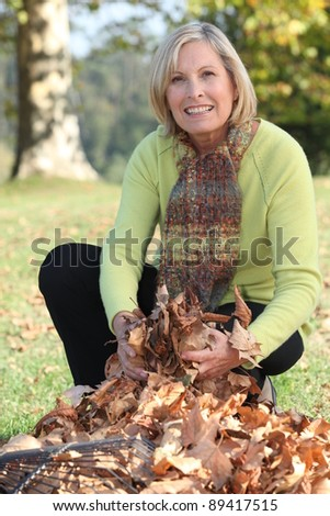 Woman gathering fallen leaves with rake - stock photo