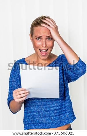 woman gets bad news - stock photo