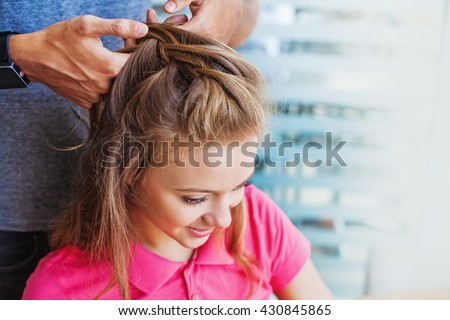 woman getting hairdo - stock photo