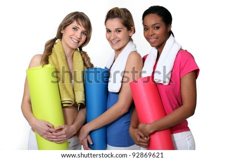 Woman getting ready for gym class - stock photo
