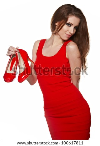 Woman getting shoes  of her shopping. - stock photo