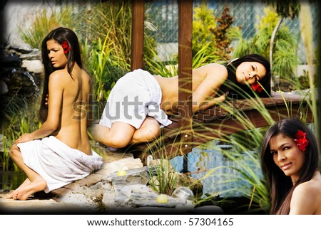 Woman getting spa collage - stock photo